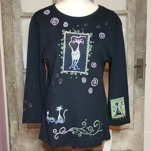 NWT Cactus brand top size S. Crazy cat lady